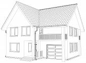 foto of interior sketch  - Vector sketch house on the white background - JPG