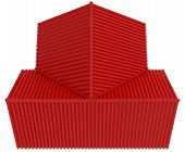 pic of red roof  - Top view on red roof - JPG