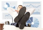 image of recliner  - Businessman sleeping - JPG