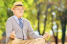 stock photo of stressless  - Senior gentleman meditating seated on a green grass in a park during autumn - JPG