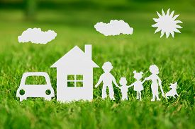 picture of ecology  - Paper cut of family with house and car on green grass - JPG
