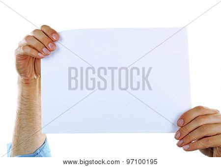 Male hand holding blank paper on white