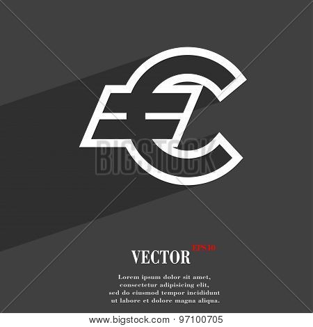 Euro Eur Icon Symbol Flat Modern Web Design With Long Shadow And Space For Your Text. Vector