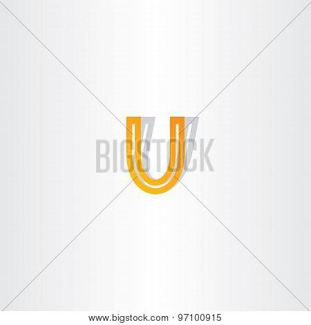 Letter U Orange Icon Design
