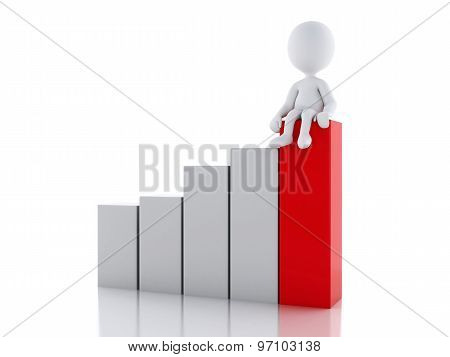 3D White People On A Statistic Graph. Success Concept.