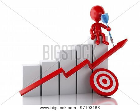 3D Red People With Business Statistic Graph And Red Target.