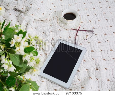 Morning. Jasmine Flowers And Coffee In Bed