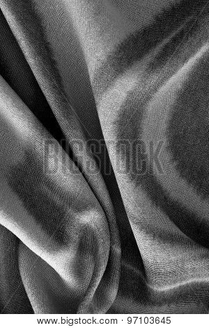 Close Up Of Black And White Cotton Texture - Textile Background