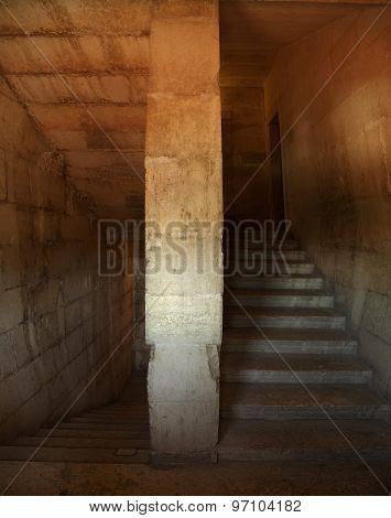 Dungeon Interior Staircase Of National Pantheon In Lisbon