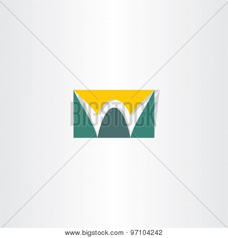 Stylized Logo Letter W Green And Yellow