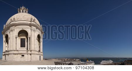 National Pantheon Dome Extending Over Tagus River In Lisbon