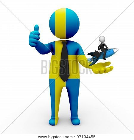3d businessman people Sweden  - with a missile in the hands and grow your business