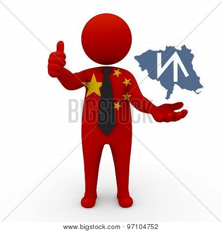 3d businessman people China - with a map of the flag of Xunhua-Salarsky Autonomous County