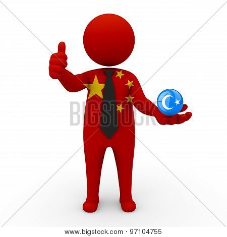 3d businessman people China - in the hands of the spherical icon of  Uygurstan(Xinjiang)