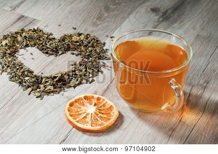 Cup Of Tea And A Heart Of Leaves