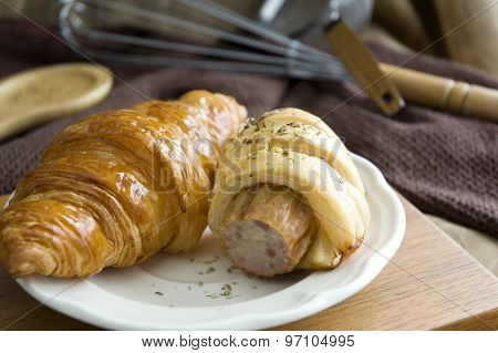 Sausage Roll And Fresh Croissant