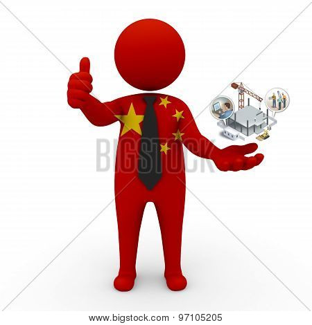 3d businessman people China - construction and innovative technologies