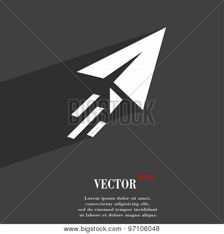 Paper Airplane Icon Symbol Flat Modern Web Design With Long Shadow And Space For Your Text. Vector