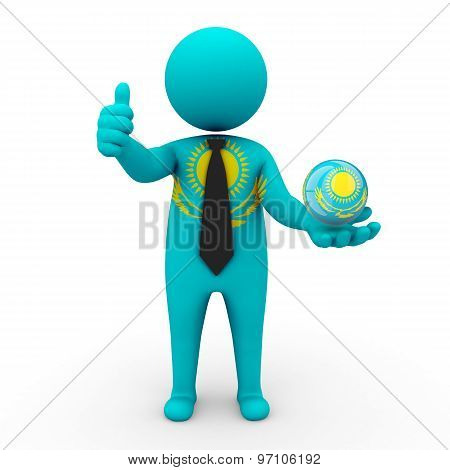 3d businessman people Kazakhstan - in the hands of the spherical icon of Kazakhstan