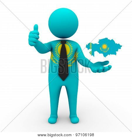 3d businessman people Kazakhstan - with a map of the flag of Kazakhstan