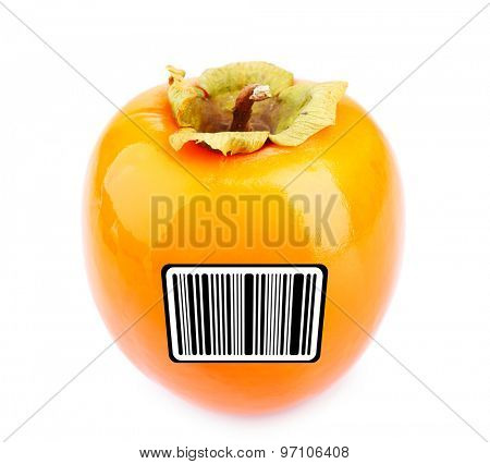 Ripe persimmon with barcode isolated on white