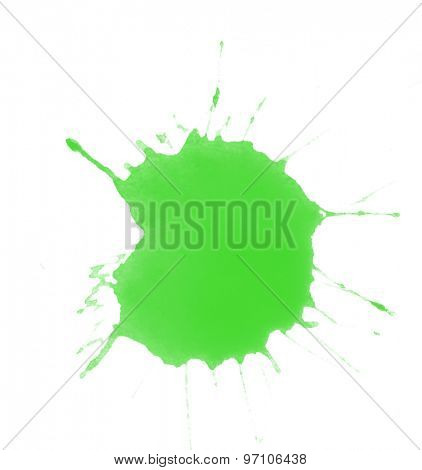 Green splash of paint isolated on white