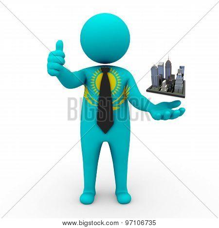 3d businessman people Kazakhstan  - Megalopolis and cities