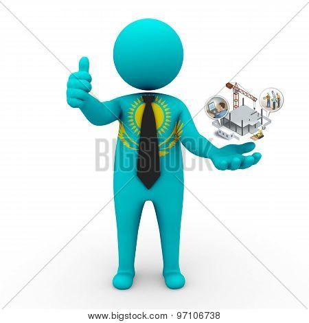3d businessman people Kazakhstan - construction and innovative technologies