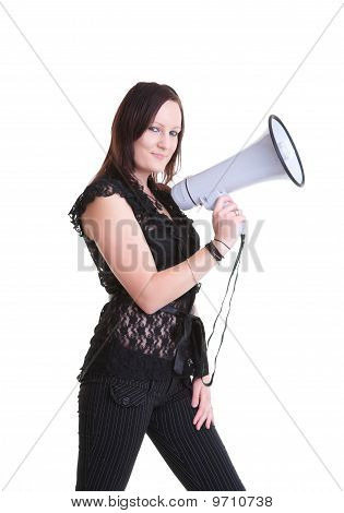 Young Woman With Megaphone