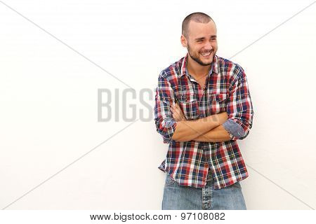 Young Man Laughing And Looking Away