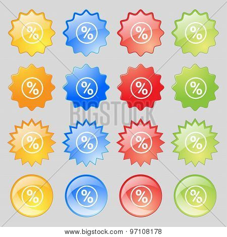 Percentage Discount Icon Sign. Big Set Of 16 Colorful Modern Buttons For Your Design. Vector
