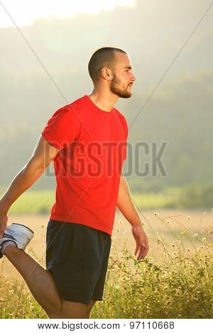 Young Man Stretching Exercise Workout