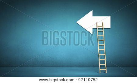 Conceptual image with ladder to white direction arrow
