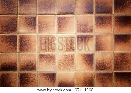 Old Pattern Brown Ceramic Bathroom Wall Tile Texture And Background
