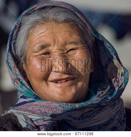 Old Local Woman In Ladakh. India
