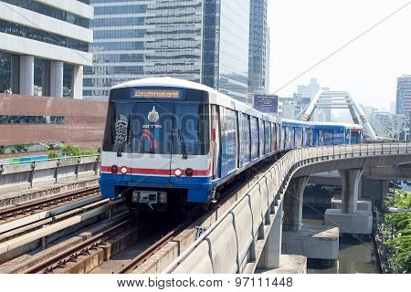 Bts Skytrain In Bangkok, Thailand.
