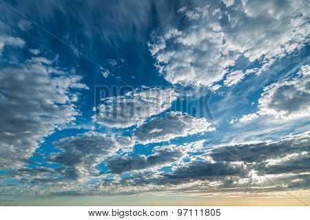 Dramatic sunset with clouds