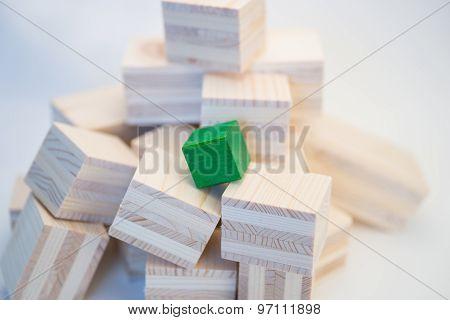 Heap of wooden cubes