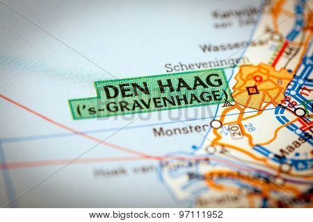 Den Haag City On A Road Map