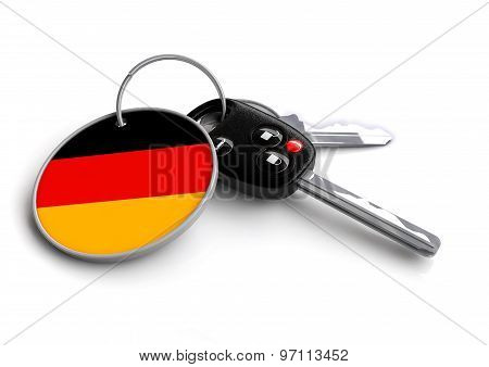 Car Keys With Germany Flag As Keyring.