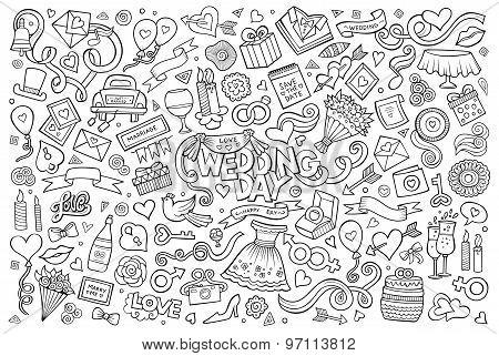 Wedding and love doodles sketchy vector symbols