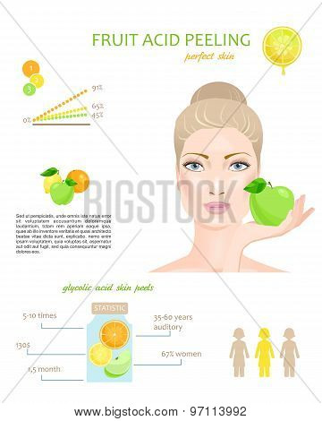 Fruit acid peeling. Vector