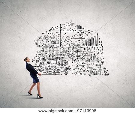 Woman carrying ideas