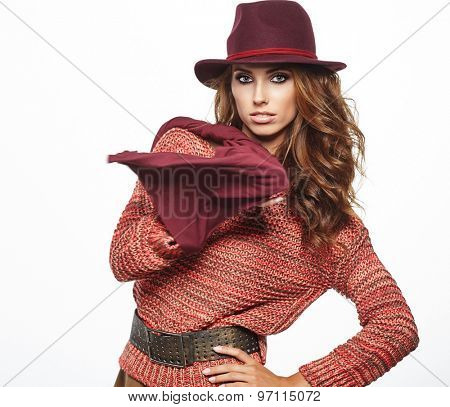 young brunette woman in autumn color isolated on white