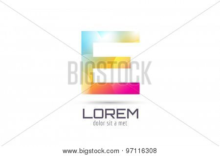 Vector E logo template. Abstract arrow shape and symbol, icon, text or creative, idea, flow. Stock illustration. Isolated on white background.
