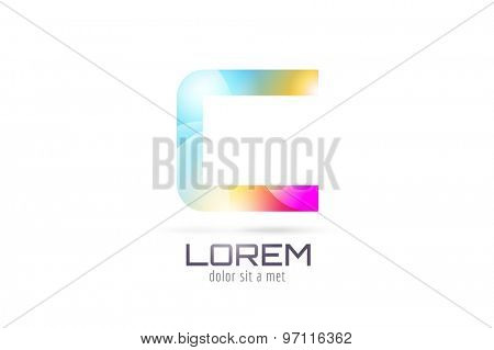 Vector C logo template. Abstract arrow shape and symbol, icon, text or creative, idea, flow. Stock illustration. Isolated on white background.