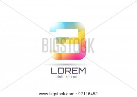 Vector 3 logo template. Abstract arrow shape and symbol, icon, text or creative, idea, flow. Stock illustration. Isolated on white background.