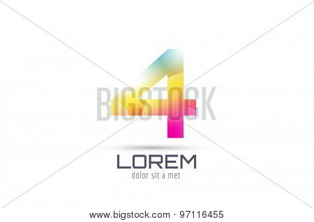 Vector 4 logo template. Abstract arrow shape and symbol, icon, text or creative, idea, flow. Stock illustration. Isolated on white background.