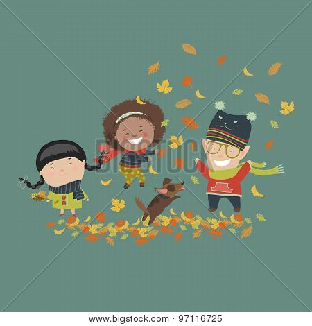 Kids playing with autumn leaves