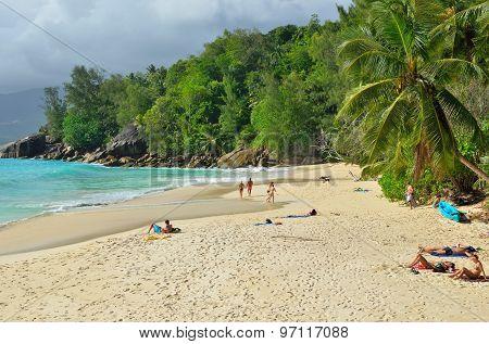 Tropical Sandy Beach On Seychelles Islands